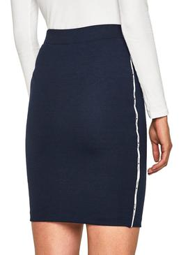 Saia Tommy Jeans Piping Bodycon Azul Mulher