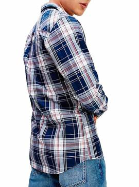 Camisa Tommy Jeans Essential Check Azul Homem