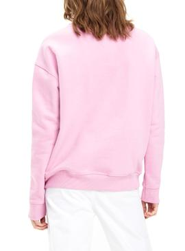 Sweat Tommy Jeans Badge Rosa Mulher