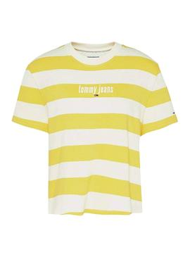 T-Shirt Tommy Jeans Stripe Amarelo para Mulher