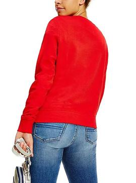 Sweat Tommy Jeans Essencial Logo Vermelho Mulher
