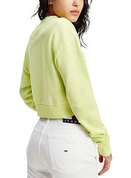 Sweat Tommy Jeans Cropped Verde para Mulher