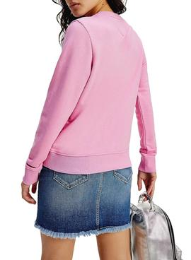 Sweat Tommy Jeans Regular Rosa para Mulher